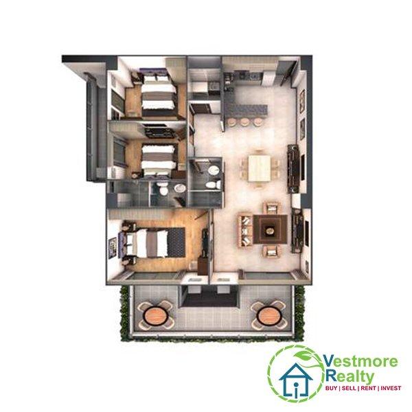 Legacy Leisure Residences Davao Condominium, Vestmore Realty, 3-Bedroom Unit