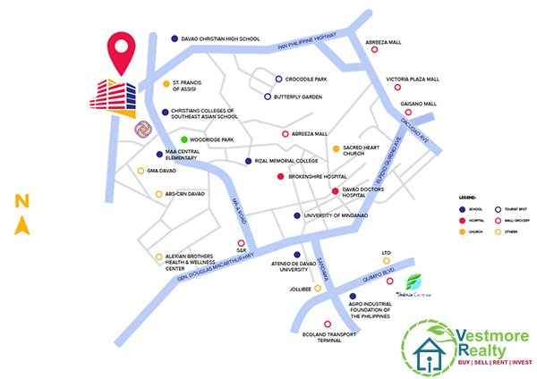 Legacy Leisure Residences Davao Vicinity Map, Ma-a Road, Davao City, Mixed-use condominium, VestmoreRealty, Vestmore Realty, Vicinity Map, Davao Condominiums for Sale